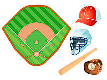 Baseball layout and equipment Stock Photography