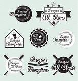 Baseball League Champion and All Star Labels. Collection of baseball league champion and all star labels and stickers Royalty Free Stock Photo