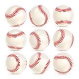 Baseball Leather Ball Close-up Set Isolated On White. SoftBall Base Ball. Realistic Baseball Icon. Vector Illustration Stock Photo