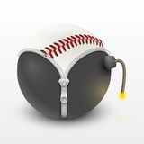 Baseball leather ball inside a burning bomb  Royalty Free Stock Photos