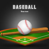 Baseball leather ball and wooden bat on field. Sport black background. Vector illustration vector illustration