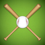 Baseball leather ball and wooden bats Royalty Free Stock Photos