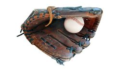 Baseball in Leather Glove Royalty Free Stock Images