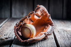 Baseball in a leather glove Royalty Free Stock Image