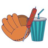 Baseball leather glove with sausage stick and soda cup. Vector illustration graphic design stock illustration