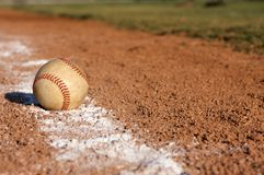 Baseball on the Line. Baseball on the infield chalk line Royalty Free Stock Photos