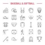 Baseball linje symboler för vektor för softballsportlek Klumpa ihop sig, slå till, sätta in, hjälmen som kastar maskinen, stoppar Royaltyfri Fotografi