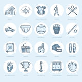 Baseball linje symboler för vektor för softballsportlek Klumpa ihop sig slagträet, fältet, hjälmen som kastar maskinen, stopparem Royaltyfria Bilder