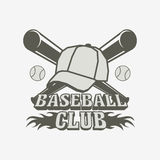 Baseball logo, badge or label design template with balls, cap and two bats Royalty Free Stock Photo