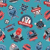 Baseball logo badge seamless pattern background sport club team vector. Collection logo athletic branding insignia Stock Photo