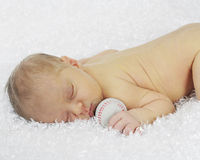 Baseball-Loving Newborn Royalty Free Stock Photos