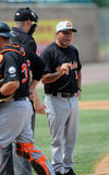 Baseball manager argues call with umpire Stock Photo