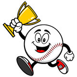 Baseball Mascot Running with Trophy. Cartoon illustration of  a Baseball Mascot Running with a Trophy Stock Photos