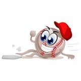 Baseball Mascot Sliding to Base Plate Stock Photography