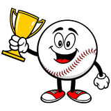 Baseball Mascot with Trophy. Cartoon illustration of  a Baseball Mascot with a Trophy Royalty Free Stock Photo