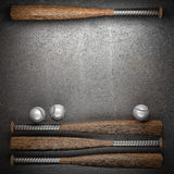 Baseball and metal wall Royalty Free Stock Photo