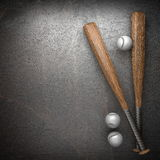 Baseball and metal wall Stock Photography