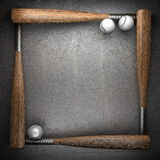 Baseball and metal wall Royalty Free Stock Images