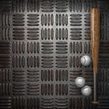 Baseball and metal wall Stock Image