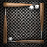 Baseball and metal wall background Stock Images