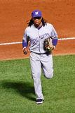 Baseball - Milwaukee Brewers Star 2B Rickie Weeks. Milwaukee Brewer's second baseman Rickie Weeks runs off tthe field during a game against the Atlanta Braves at Stock Photography