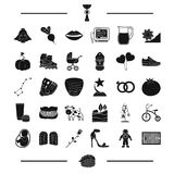 Baseball, mine and other web icon in black style.plants, travel, shoes icons in set collection Royalty Free Stock Photos