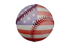 Baseball mit amerikanischer Flagge Stockbilder