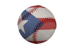 Baseball mit der Markierungsfahne von Puerto Rico Stockbilder