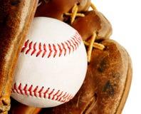 Baseball mit Handschuh Stockbild