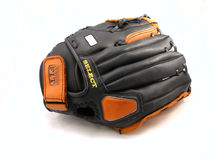 Baseball mitt. Black and orange leather baseball mitt royalty free stock photo