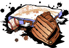 Baseball Mitt and Base. With Ball Stock Images