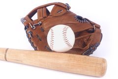 Baseball, mitt and bat Royalty Free Stock Images