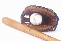 Baseball, mitt and bat Royalty Free Stock Photos