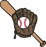 Baseball Mitt & Bat Royalty Free Stock Images