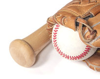 Baseball, mitt and bat on white Royalty Free Stock Image