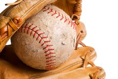 Baseball in mitt isolated Stock Image