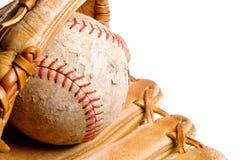 Baseball in mitt isolated Stock Photo