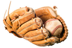 Baseball in mitt isolated Stock Images