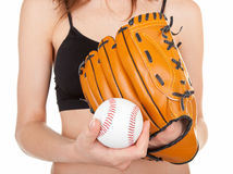 Baseball mitt and a soft ball Royalty Free Stock Images
