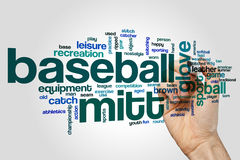 Baseball mitt word cloud concept on grey background Stock Photography