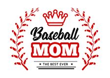 Baseball mom emblem with baseball wreath-style lacing and a king crown on white background. Vector