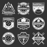 Baseball Monochrome Logos. Of teams and competitions with sports outfit on black background isolated vector illustration Stock Image