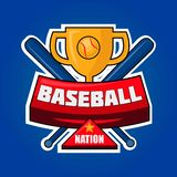 Baseball nation logotype with golden cup and crossed bats vector Stock Image