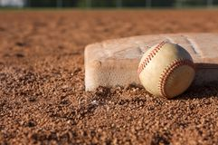 Baseball near the base. Baseball close up near third base Stock Photo