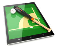 Baseball and new communication technology. Smartphone with baseball field and a bat and ball, concept of sport and new communication technology (3d render Stock Photography