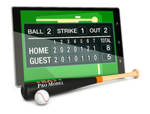 Baseball and new communication technology. Tablet pc with baseball field, a score board, a bat and a ball, concept of sport and new communication technology (3d Stock Photography
