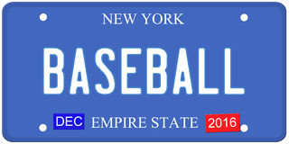 Baseball New York License Plate. An imitation New York license plate with December 2016 stickers and BASEBALL written on it making a great concept.  Words on the Royalty Free Stock Photography