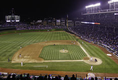 Baseball - Night Game at Wrigley Stock Photography