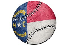 Baseball North Carolina state flag. North Carolina flag background Baseball royalty free illustration