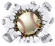 Baseball and Old Plaster wall damage. Stock Photography